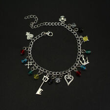 Anime Kingdom Hearts Sora Key Blade Metal Bracelet Pendant Charm Cosplay