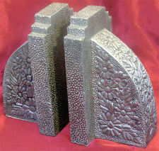 Unusual Silver Aesthetic Movement Book Ends With Asian Influenced Flowers