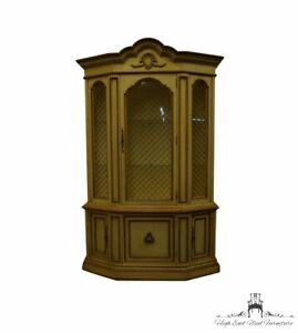 """CENTURY FURNITURE French Provincial Cream / Off White Painted 51"""" Lighted Dis..."""