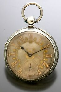 ANTIQUE SILVER LEVER FUSEE POCKET WATCH CA1860 GOLD ON SILVER DIAL, M. COHEN