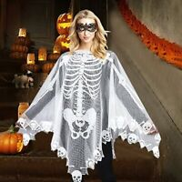 S/L Scarf Lace Skeleton Poncho Halloween Cloak Party Skull Costum White F/