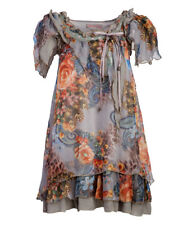 Pretty Angel Floral Ruffle Tunic, Gray w/Blue & Coral, Size S, Linen Blend, NEW