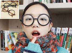 Vintage Oversize Round Eyeglass Frames Clear Lens Brown Leopard 3 colors Glasses