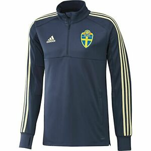 Adidas Sweden Sverige Suecia Training 1/4 Zip Top Jacket Sweater - Blue CF1638