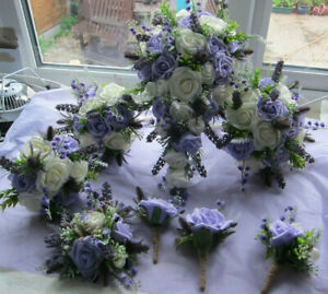 Wedding Flowers Bouquet Buttonholes Brides Shower Bridesmaids Posy - Lilac