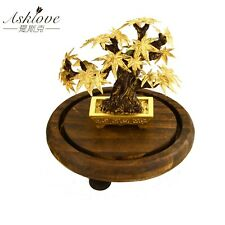 Maple Tree Plant Bonsai Feng shui 24k Gold Foil Crafts Lucky Wealth Home Decor