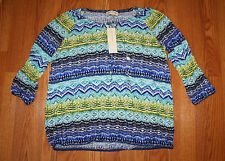NWT Womens Jones New York Navy Blue Green Teal Lime Peasant Shirt Size M Medium