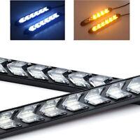 2x 18cm LED Auto Blinker Scheinwerfer Sequentiell LAUFEFFEKT Lampe Weiß/Gelb 12V