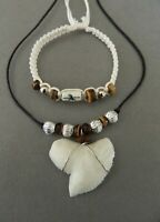 REPLICA TIGER SHARK TOOTH RESIN NECKLACE BRACELET SET MENS BOYS JEWELLERY GIFT