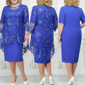 Women Plus Size Maxi Cocktail Party Wedding Evening Formal Lace Dresses for Mom