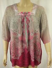 BeMe Pink Grey Sublimation Crinkle Elbow Sleeve Tunic Top Plus Size 18 BNWT #J40