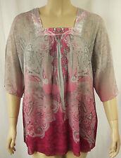 BeMe Pink Grey Sublimation Crinkle Elbow Sleeve Tunic Top Plus Size 18 #J40