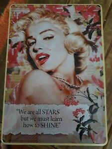 """Marilyn Monroe Beautiful, rare, large Collectable Tin/Box """"We are all STARS..."""""""