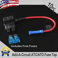 10x 16 Gauge Copper Add-A-Circuit ATC/ATO Blade Piggy Back Style Fuse + 1A - 40A