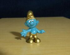 Smurfs Gold Smurf Golden Hat & Pants Rare Vintage Figure PVC Toy Figurine 20005