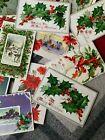 18 Vintage Postcards Edwardian Christmas Embossed  Holly Poinsettia Glitter Tuck