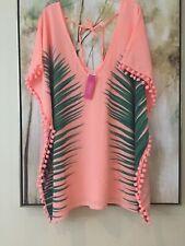 NEW Palm Leaf / Peach Cover Up Womens Size Small With Pom Pom Side Trim.