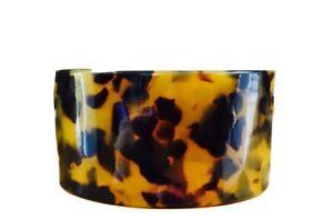 "NEW Tortoise Shell Bracelet Brown Black Lucite Cuff Bangle Leopard 1.3"" USA"