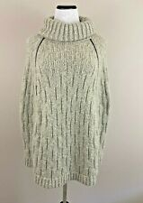 The Limited Poncho Sweater Scandal Series Gray Beige Cable Knit Size Sz XS