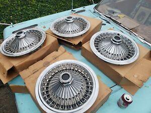 """NOS SET of 4 15"""" Mopar 3461467 1970-78 Wire Wheel Cover Dodge Chrysler Plymouth"""