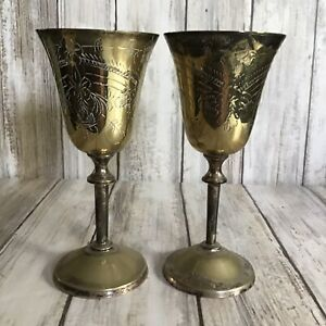 Vintage Pair Of Engraved Brass Metal Small Wine Goblets Chalice