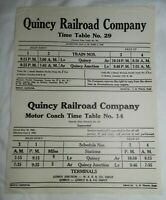 1940 Quincy Railroad Company Time Table No. 29