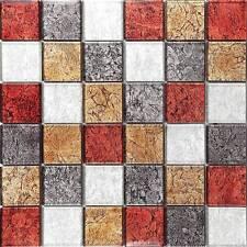 Glass Mosaic Wall Tiles Autumn Hong Kong Foil Mix 48x48, 300mm x 300mm MT0072