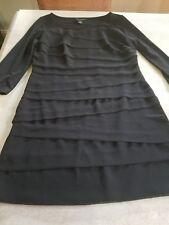 WHITE HOUSE BLACK MARKET  SlimmingTiered black long sleeve Wiggle Dress S