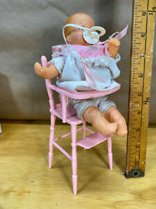 Vintage Baby Doll Bouncin' Babies Galoob Fussy Baby 1988 w/ high chair