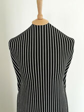 Black and White Stripe Printed Textured 4 Way Stretch Jersey Fabric-1.9/3.8mts