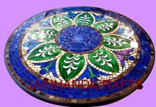Marble fine 4' Pietra dura round side Dining Table Top Inlay Mosaic Marquetry