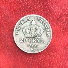 France - Napoléon III - jolie Monnaie de 20 Centimes 1866 K  en argent