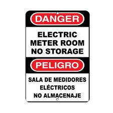Vertical Metal Sign Multiple Sizes Danger Electric Meter Room No Storage Hazard