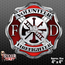 "Firefighter ""VOLUNTEER CROSS"" Sticker - Vinyl Decal Maltese Fire Window #FS2021"