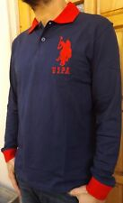 MEN`S NEW US POLO ASSN LONG SLEEVE POLO SHIRT SIZE LARGE NAVY SLIM FIT TOP