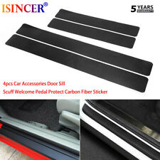 4x Car Accessories Door Sill Scuff Welcome Pedal Protect Carbon Fiber Sticker LX
