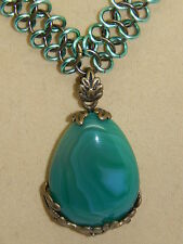 Natural Green Agate & Antique Brass Pendant on Chain Maille Necklace, Hand-made