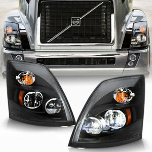 [Pair Set]Black Housing LED Head Lights Lamps For 2004-2017 Volvo VNL VNX Truck