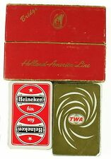 Vintage Holland America Line Bridge Heineken TWA Airline Playing Cards Lot