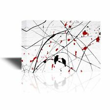 wall26 - Canvas - Two Birds on Abstract Background with Red Color Splash - 12x18