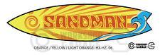 Holden HX / HZ SANDMAN Surfboard Shaped Sticker -Orange Text 06