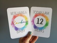 Rainbow pregnancy Milestone cards photo prop pregnancy gift announcement
