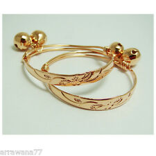 Flower 22K 23K Thai Baht Rose Gold GP Baby Set Anklet Bell Jewellery Jewelry