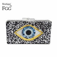 Black Glitter Eye Acrylic Evening Box Clutch Bag Chain Shoulder Handbag Purse