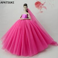 Pink Patchwork Doll Dress For Barbie Doll Clothes Evening Gown Wedding Dresses