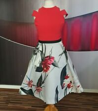 """GORGEOUS COAST """"KATSURA"""" RED GREY FLORAL PRINT FIT AND FLARE EVENING DRESS SIZE"""