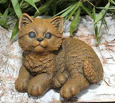 sculpture en pierre CHATS position assise pierre artificielle brun clair