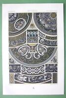 RENAISSANCE Limoges Enamels Grisailles- COLOR Litho Print by Racinet