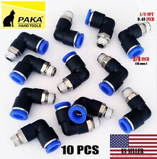 10X  Pneumatic Male Elbow Connector Tube OD 3/8