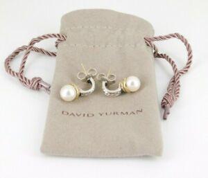 David Yurman 925 Sterling Silver & 14k Yellow Gold Pearl Earrings With Bag